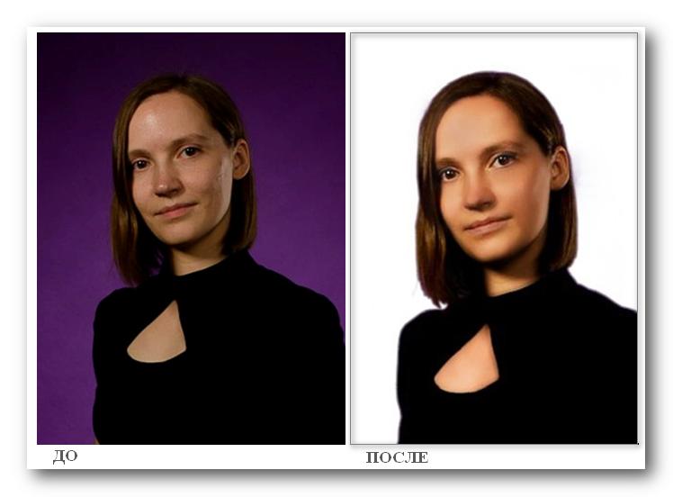 Убрать блике на лице, дефекты кожи и фон.